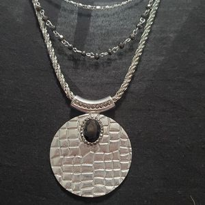 Ny & Co. 3 tier pendant necklace black and silver